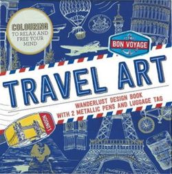 Travel Art : Wanderlust design book with 2 metallic pens and luggage tag