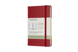 2018 Moleskine Scarlet Red Pocket Weekly Notebook Diary 12 Months Hard